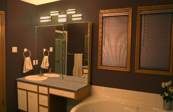 2 step bathroom update mochi home mochi home for Bathroom ideas in brown