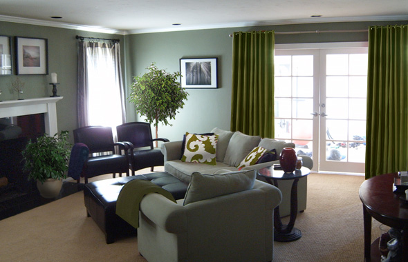 Sage Green And Brown Living Room