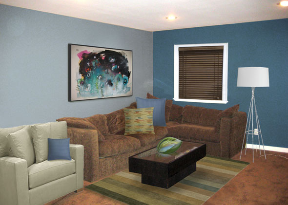 Putting the great in a basic brown great room mochi for Brown and blue living room designs