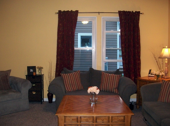 The Existing Maroon Curtains