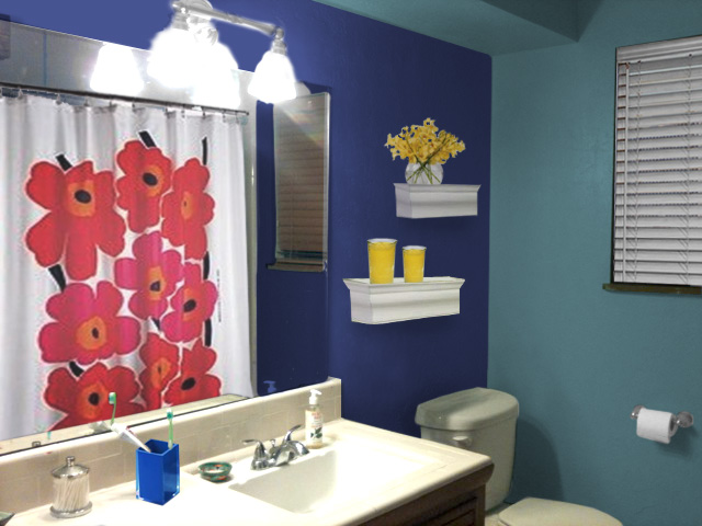Painting a small space bold mochi home mochi home for Blue green bathroom ideas