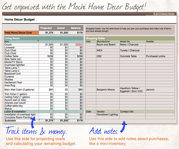 Get This Spreadsheet: Home Decor Budget