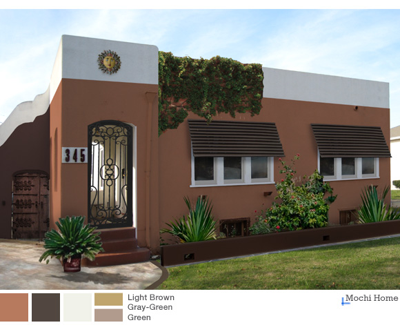 Earthy And Warm Exterior Paint Colors A Sunny Suburban Hacienda Mochi Home