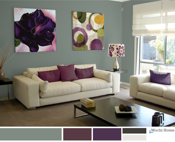 Color study sage green living room ideas mochi home for Purple and green living room ideas