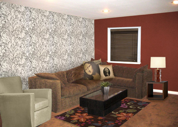 red and tan living room and brown living room 19060